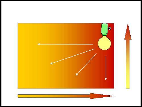 l concetto di gradiente termico: la fonte di riscaldamento (la lampadina) viene posta ad una estremità del terrario. Mano a mano ce ne allontaniamo, diminuisce la temperatura